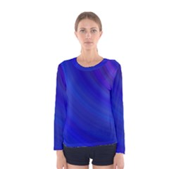 Blue Background Abstract Blue Women s Long Sleeve Tee