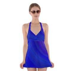 Blue Background Abstract Blue Halter Swimsuit Dress