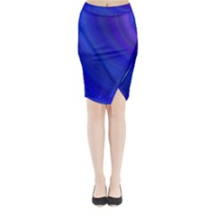 Blue Background Abstract Blue Midi Wrap Pencil Skirt