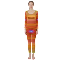 Ellipse Background Orange Oval Long Sleeve Catsuit