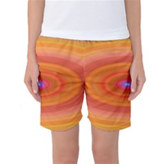Ellipse Background Orange Oval Women s Basketball Shorts