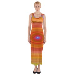 Ellipse Background Orange Oval Fitted Maxi Dress