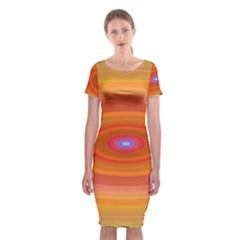 Ellipse Background Orange Oval Classic Short Sleeve Midi Dress