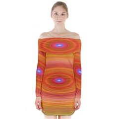 Ellipse Background Orange Oval Long Sleeve Off Shoulder Dress
