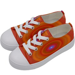 Ellipse Background Orange Oval Kids  Low Top Canvas Sneakers by Nexatart