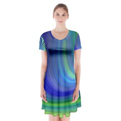 Space Design Abstract Sky Storm Short Sleeve V Neck Flare Dress