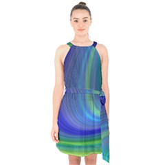 Space Design Abstract Sky Storm Halter Collar Waist Tie Chiffon Dress