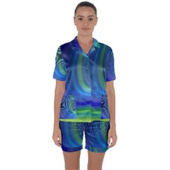 Space Design Abstract Sky Storm Satin Short Sleeve Pyjamas Set