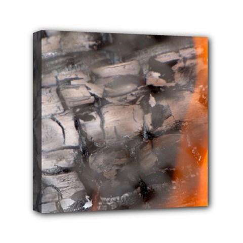 Fireplace Flame Burn Firewood Mini Canvas 6  X 6