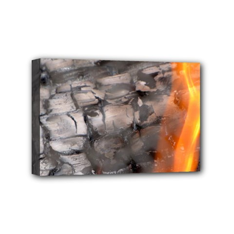 Fireplace Flame Burn Firewood Mini Canvas 6  X 4  by Nexatart