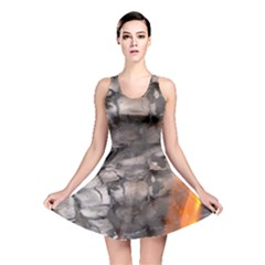 Fireplace Flame Burn Firewood Reversible Skater Dress