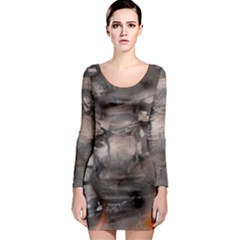 Fireplace Flame Burn Firewood Long Sleeve Bodycon Dress