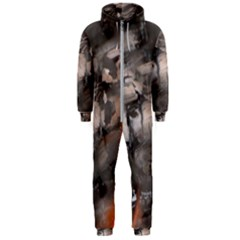 Fireplace Flame Burn Firewood Hooded Jumpsuit (men)