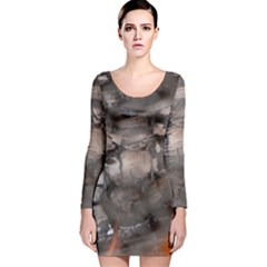 Fireplace Flame Burn Firewood Long Sleeve Velvet Bodycon Dress