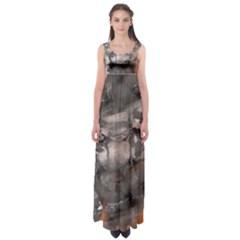 Fireplace Flame Burn Firewood Empire Waist Maxi Dress