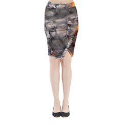 Fireplace Flame Burn Firewood Midi Wrap Pencil Skirt