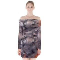 Fireplace Flame Burn Firewood Long Sleeve Off Shoulder Dress