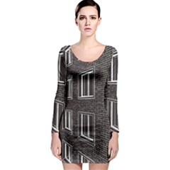 Graphics House Brick Brick Wall Long Sleeve Bodycon Dress