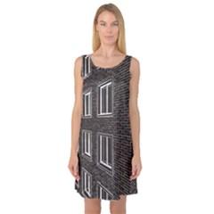 Graphics House Brick Brick Wall Sleeveless Satin Nightdress