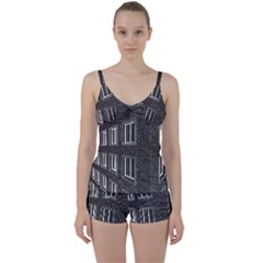 Graphics House Brick Brick Wall Tie Front Two Piece Tankini