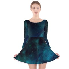 Space All Universe Cosmos Galaxy Long Sleeve Velvet Skater Dress