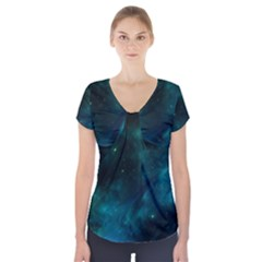 Space All Universe Cosmos Galaxy Short Sleeve Front Detail Top