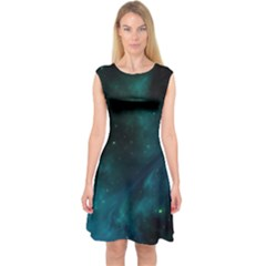 Space All Universe Cosmos Galaxy Capsleeve Midi Dress