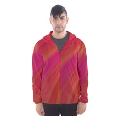 Abstract Red Background Fractal Hooded Wind Breaker (men)