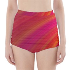Abstract Red Background Fractal High Waisted Bikini Bottoms