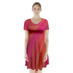Abstract Red Background Fractal Short Sleeve V Neck Flare Dress