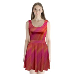 Abstract Red Background Fractal Split Back Mini Dress