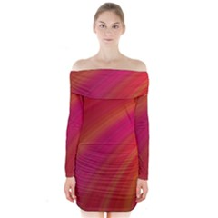 Abstract Red Background Fractal Long Sleeve Off Shoulder Dress