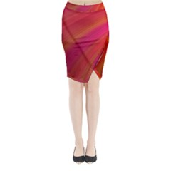 Abstract Red Background Fractal Midi Wrap Pencil Skirt