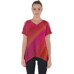 Abstract Red Background Fractal Cut Out Side Drop Tee