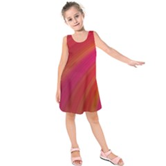 Abstract Red Background Fractal Kids  Sleeveless Dress