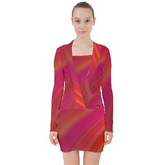 Abstract Red Background Fractal V Neck Bodycon Long Sleeve Dress