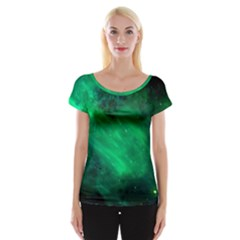 Green Space All Universe Cosmos Galaxy Cap Sleeve Tops