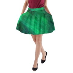 Green Space All Universe Cosmos Galaxy A Line Pocket Skirt by Nexatart