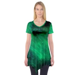 Green Space All Universe Cosmos Galaxy Short Sleeve Tunic