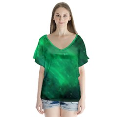 Green Space All Universe Cosmos Galaxy V Neck Flutter Sleeve Top