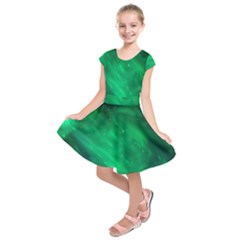 Green Space All Universe Cosmos Galaxy Kids  Short Sleeve Dress