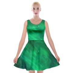Green Space All Universe Cosmos Galaxy Velvet Skater Dress by Nexatart