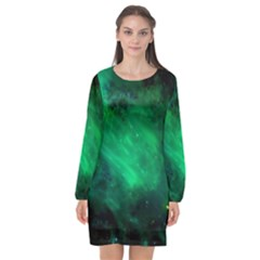 Green Space All Universe Cosmos Galaxy Long Sleeve Chiffon Shift Dress