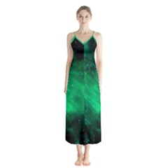 Green Space All Universe Cosmos Galaxy Button Up Chiffon Maxi Dress by Nexatart