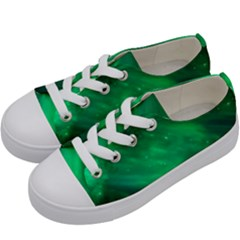 Green Space All Universe Cosmos Galaxy Kids  Low Top Canvas Sneakers by Nexatart