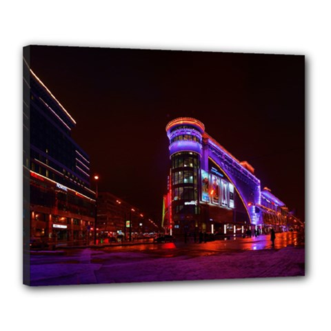 Moscow Night Lights Evening City Canvas 20  X 16