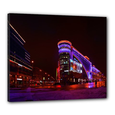 Moscow Night Lights Evening City Canvas 24  X 20