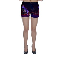 Moscow Night Lights Evening City Skinny Shorts
