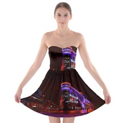 Moscow Night Lights Evening City Strapless Bra Top Dress