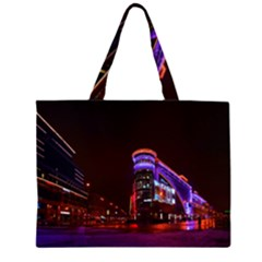 Moscow Night Lights Evening City Zipper Large Tote Bag by Nexatart